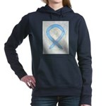 Light Blue Ribbon Angel Women's Hooded Sweatshirt