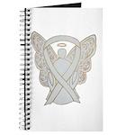 White Awareness Ribbon Guardian Angel Wing Journal