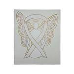 White Awareness Ribbon Angel Art Throw Blanket