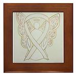 White Ribbon Angel Framed Tile