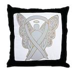 White Ribbon Angel Throw Pillow
