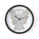 White Ribbon Angel Wall Clock