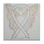 White Ribbon Angel Tile Coaster