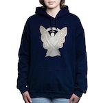 White Awareness Ribbon Women's Hooded Sweatshirt