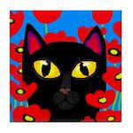 BLACK CAT PORTRAIT POPPIES Tile Coaster
