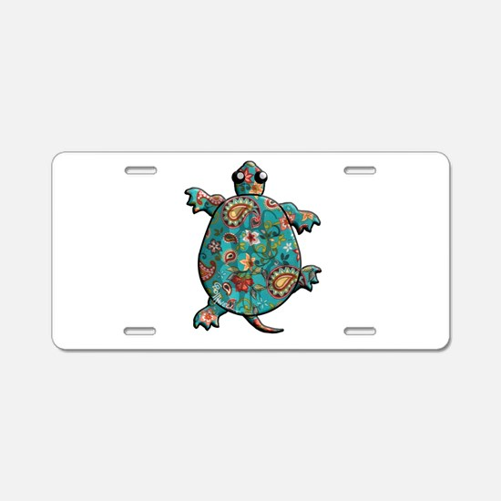 Red Teal Paisley Aluminum License Plate