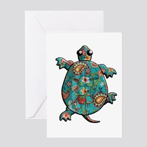Red Teal Paisley Greeting Card
