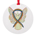 Lgbtq Rainbow Awareness Ribbon Round Ornament