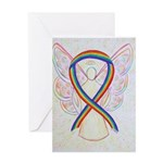 Rainbow Ribbon Angel Greeting Cards