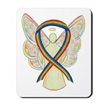 Lgbtq Awareness Rainbow Ribbon Angel Mousepad