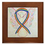 Rainbow Ribbon Angel Framed Tile