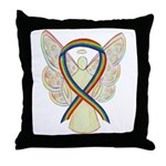 Rainbow Ribbon Lgbtq Angel Throw Pillow
