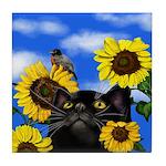 BLACK CAT SUNFLOWERS BIRD Tile Coaster
