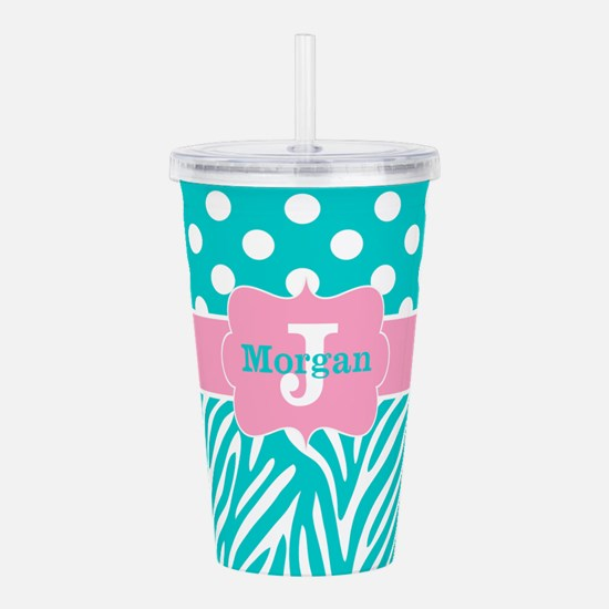 Pink Teal Zebra Dots Personalized Acrylic Double-w