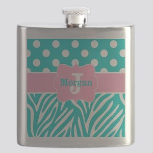 Pink Teal Zebra Dots Personalized Flask