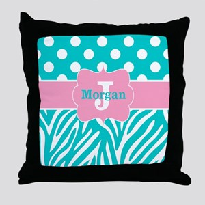 Pink Teal Zebra Dots Personalized Throw Pillow