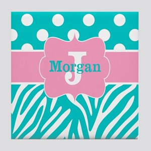 Pink Teal Zebra Dots Personalized Tile Coaster