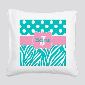 Pink Teal Zebra Dots Personalized Square Canvas Pi