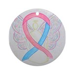 Pink and Blue Angel Ornament (Round)