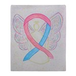 Pink and Blue Angel Throw Blanket