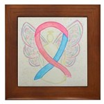 Pink and Blue Angel Framed Tile