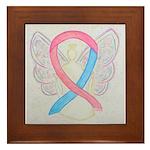 Pink and Blue Angel Framed Tile