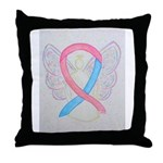 Pink and Blue Angel Throw Pillow