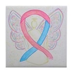 Pink and Blue Angel Tile Coaster