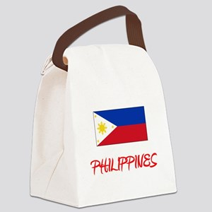 Philippines Flag Artistic Red Des Canvas Lunch Bag