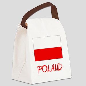 Poland Flag Artistic Red Design Canvas Lunch Bag