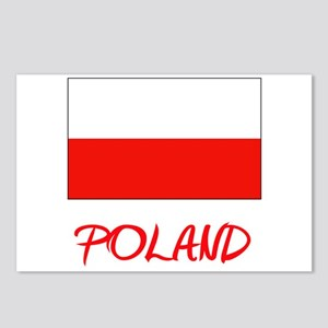Poland Flag Artistic Red Postcards (Package of 8)