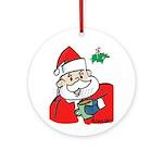 Santa With Coffee Ornament (round)