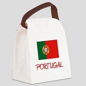 Portugal Flag Artistic Red Design Canvas Lunch Bag