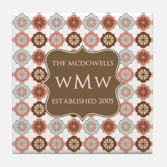 Quatrefoil Custom Monogram Keepsake Tile Coaster