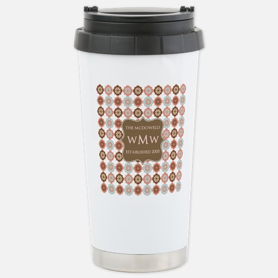 Quatrefoil Custom Monog Stainless Steel Travel Mug
