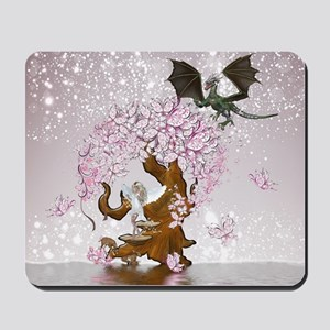 Fantasy Faerie Butterflies and Dragon Mousepad