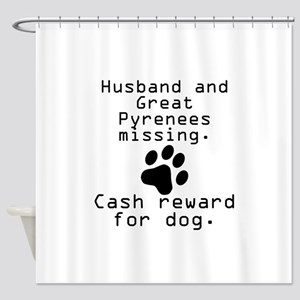 Husband And Great Pyrenees Missing Shower Curtain