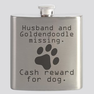 Husband And Goldendoodle Missing Flask