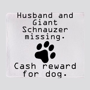 Husband And Giant Schnauzer Missing Throw Blanket