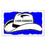 I LOVE COWBOYS Rectangle Sticker