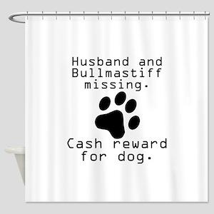 Husband And Bullmastiff Missing Shower Curtain