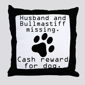 Husband And Bullmastiff Missing Throw Pillow