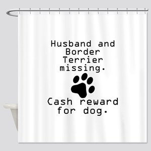 Husband And Border Terrier Missing Shower Curtain