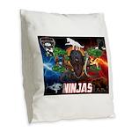 Natures Ninjas Fire & Ice Burlap Throw Pillow