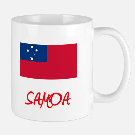 Samoa Flag Artistic Red Design Mugs
