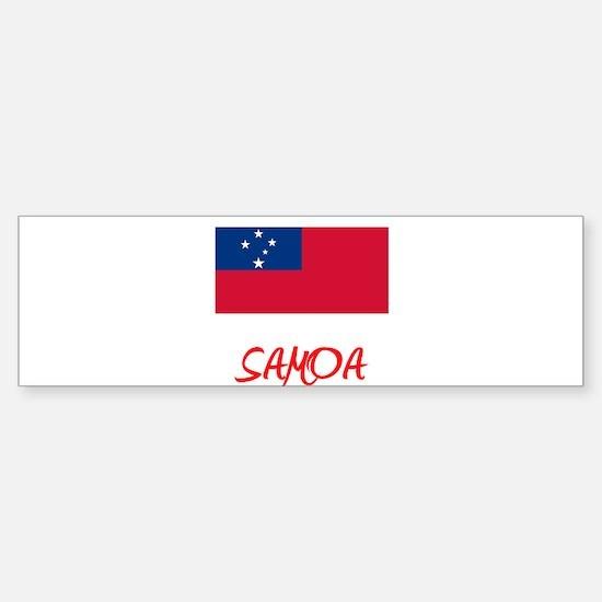 Samoa Flag Artistic Red Design Bumper Bumper Bumper Sticker