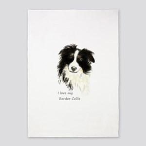 I Love My Border Collie Pet Dog 5'x7'area Rug