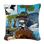 Natures Ninjas In The Seasons Woven Throw Pillow