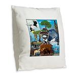 Natures Ninjas In The Seasons Burlap Throw Pillow