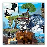 Natures Ninjas In The Seasons Square Car Magnet 3